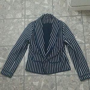 Jackets & Blazers - Navy blue and white blazer